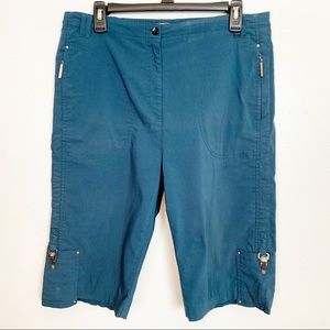 Jamie Sadock Teal Bermuda Decorative Golf Shorts